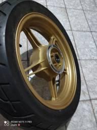 Roda traseira dourada/CB300+pneu somente venda