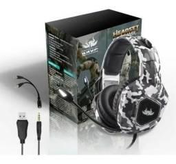 Fone De Ouvido Headset Gamer Usb 7.1 Camuflagem Pc Ps4 P2 - Loja Natan Abreu