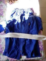 Kimono judô azul ,faixa branca