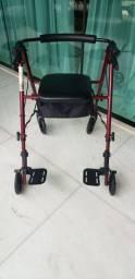 Andador alumínio dobrável 4 rodas assento e cesta