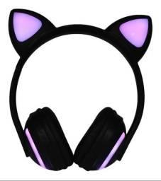 Fone de ouvido orelha gatinho led RGB bluetooth e microfone embutido