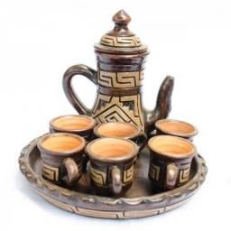Conjunto de café/chá marajoara; conjunto de copo, travessa e jarro