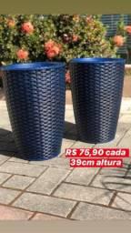 Par de vasos de fibra azul royal - novos