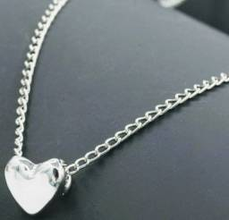 Corrente de prata 925 com coração