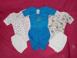 Combo kit 3 conjuntos de body e short bebê