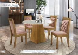 Mesa de Jantar Sevilha 1,00 x 1,00 Tampo de Redondo Plus / Cadeiras Atlanta