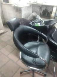 Cadeira barbeiro + bancos espera
