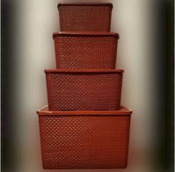 Conjunto Caixas Organizadoras Rattan 4 peças