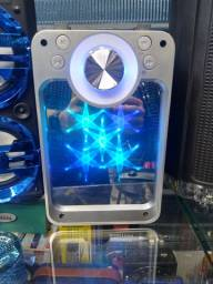 Caixa de som com luzes completa bluetooth rádio entrada pra pendrave