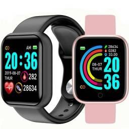 Relógio smartwatch Bluetooth monitor cardíaco fitnes Y68, cores Preto, Rosa
