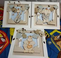 Trio de quadros MDF 40x40