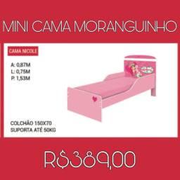 Mini cama Moranguinho suporta até 50 kg