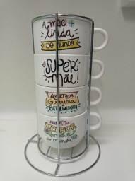 Título do anúncio: Kit 4 xicaras de café com porta xicara 180ml personalizado