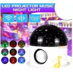 Luminaria Abajur de led bluetooth portátil, Projetor Globo Estrela