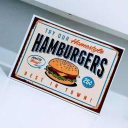 Placa Decorativa em MDF Hamburgers / Vintage