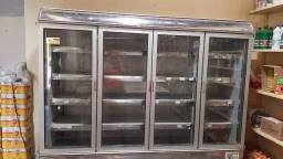Refrigerador vertical, INOX, 4 portas de vidro