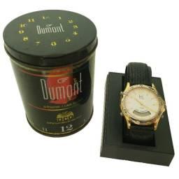 Relógio Analógico Digital Dumont SaaB DG10478 Prata/Dourado Pulseira Couro