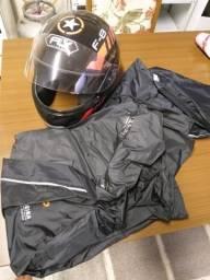 Kit capacete com capa de chuva