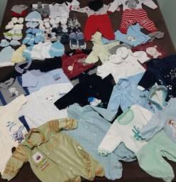 Lote Roupa de bebê menino RN, P, M