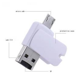 Leitor Cartão Otg Micro Sd Usb Adaptador Pendrive Celular PC