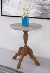 Mesa de apoio torneada Xingu madeira c/ vidro pintado 60cm