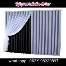 Título do anúncio: Cortina tecido corta Luz + voil instalada parcela em até 12x