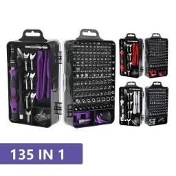 Kit de ferramentas manual com 135 peças.