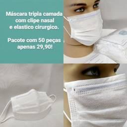 Mascara descartavel cirurgica  tripla camada com clipe nasal