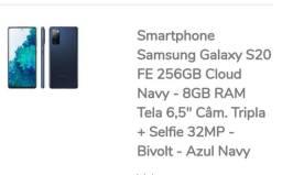 Vendo Celular Samsung S20 FE 256GB 8GB Preço Promocional com desconto.