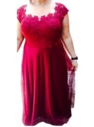 Vestido longo festa Marsala plus size n 52