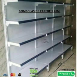 Exposição de Produtos em Gôndolas. Gondolas de Aço novas