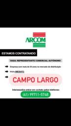 Vaga Representante comercial Campo Largo
