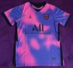 Camisa do PSG Jordan rosa e roxa (disponível: P, G e GG)