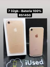 iPhone 7 32gb Caixa Bateria 100% - Aceito Cartão