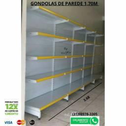 Gôndolas de parede 1,70 C/5bandejas ou Kit Gondulas 1,70 '/6 bandejas