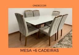 Mesa +6 cadeiras no veludo