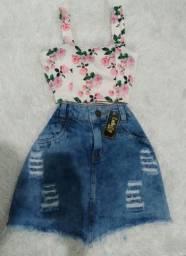 Cropped e Saia jeans - *Leia a descrição*