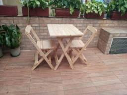 Jogo Mesa Madeira Dobrável Com 2 Cadeiras Sem Pintura