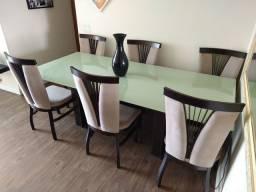 Mesa de Vidro Retangular 6 cadeiras
