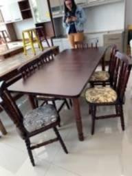 Mesa 2 metros com 8 cadeiras Madeira maciça pronta entrega