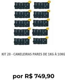Kit completo pares de caneleiras do 1 ao 10 kgs profissional