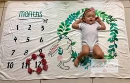 Cobertor Manta Mêsversário Bebê Infantil Numeral