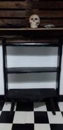 Estante madeira maciça preta