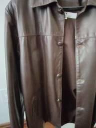 Blusão de couro natural marrom