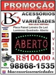 Placa Painel Letreiro De Led Luminoso Quadrado-Aberto-220V (Loja BK Variedades)-Promoção