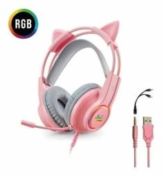 Headset Fone Gamer Com Microfone E Led P3/p2 Kp-ga04 Rosa