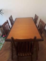 Mesa madeira imbuia 1,60 x 0,80 com 6 cadeiras