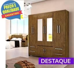 Guarda-Roupa Porto 6 Portas 2 gavetas espelho - Catálogo completo via whats