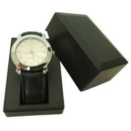 Relógio Analógico Quartz Prata Pulseira Preta