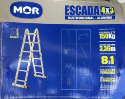 Escada multifuncional de alumínio com 12 degraus. Oportunidade! Produto novo!